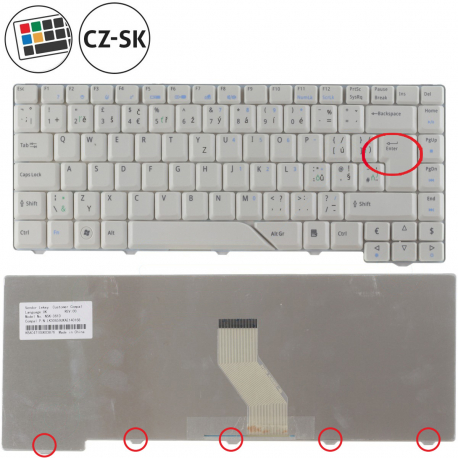 Acer Aspire 7520G Klávesnice pro notebook - CZ / SK + zprostředkování servisu v ČR