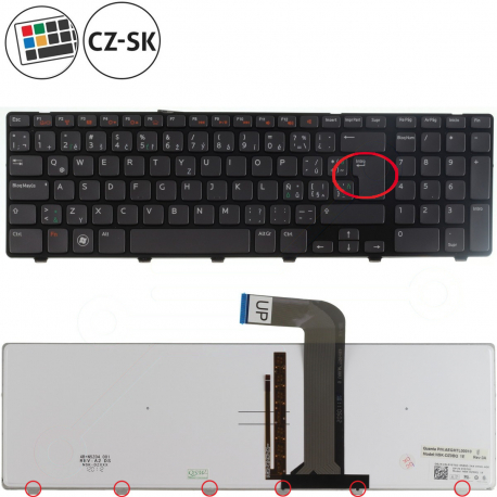 Dell Inspiron 17R Klávesnice pro notebook - CZ / SK + doprava zdarma + zprostředkování servisu v ČR