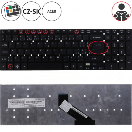 Acer Aspire ES1-512-C12D Klávesnice pro notebook - CZ / SK + zprostředkování servisu v ČR