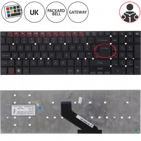 Acer Aspire E5-521 Klávesnice pro notebook - anglická - UK + zprostředkování servisu v ČR