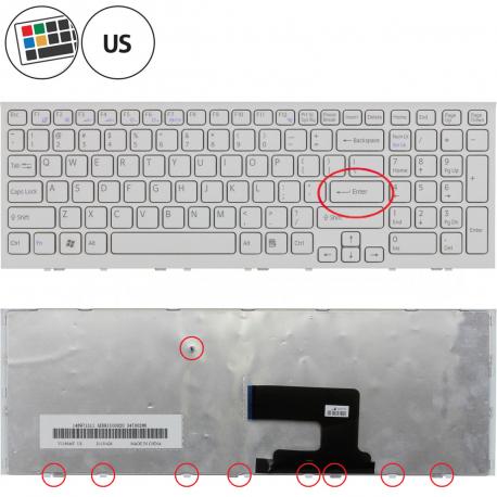 Sony Vaio VPC-EH1L8E Klávesnice pro notebook - americká - US + doprava zdarma + zprostředkování servisu v ČR