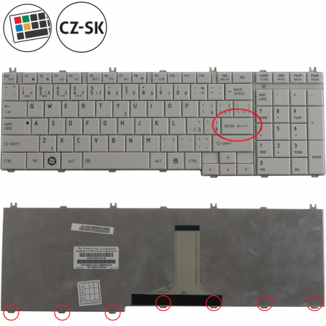 Toshiba Satellite L650-1PT Klávesnice pro notebook - CZ / SK + zprostředkování servisu v ČR