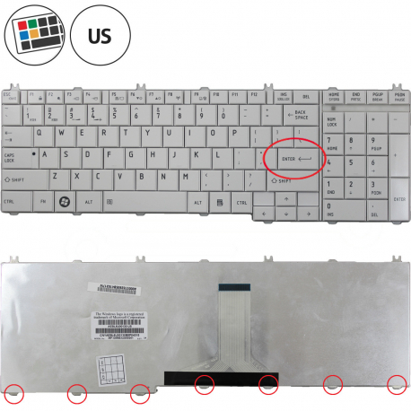Toshiba Satellite C660 Klávesnice pro notebook - americká - US + zprostředkování servisu v ČR