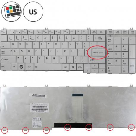 Toshiba Satellite C660D Klávesnice pro notebook - americká - US + zprostředkování servisu v ČR