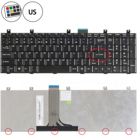 MSI GX620X Klávesnice pro notebook - americká - US + zprostředkování servisu v ČR