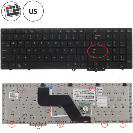 HP EliteBook 8540w Klávesnice pro notebook - americká - US + zprostředkování servisu v ČR