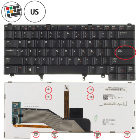 Dell Latitude E6320 Klávesnice pro notebook - americká - US + zprostředkování servisu v ČR
