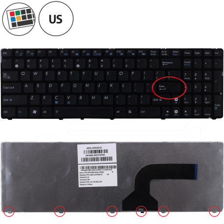 Asus K53SV Klávesnice pro notebook - americká - US + zprostředkování servisu v ČR