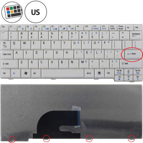 Acer Aspire One 571 Klávesnice pro notebook - americká - US + zprostředkování servisu v ČR