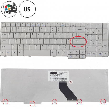 Acer Extensa 5635Z Klávesnice pro notebook - americká - US + zprostředkování servisu v ČR