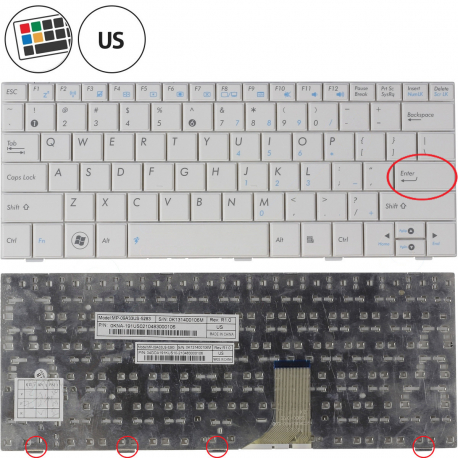 Asus Eee PC 1001PX Klávesnice pro notebook - americká - US + zprostředkování servisu v ČR