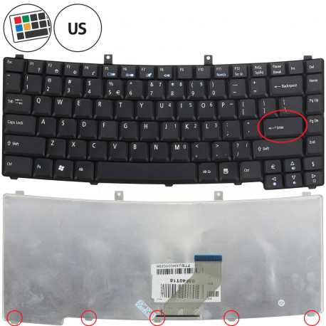 Acer TravelMate 2490 Klávesnice pro notebook - americká - US + zprostředkování servisu v ČR