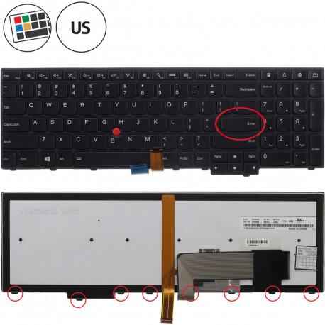 Lenovo E550 Klávesnice pro notebook - americká - US + doprava zdarma + zprostředkování servisu v ČR