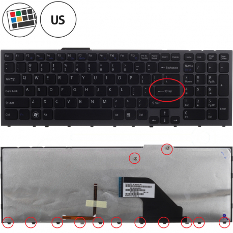Sony Vaio VPC-F12M1E/H Klávesnice pro notebook - americká - US + doprava zdarma + zprostředkování servisu v ČR