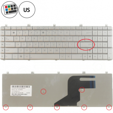 Asus N55SF Klávesnice pro notebook - americká - US + zprostředkování servisu v ČR