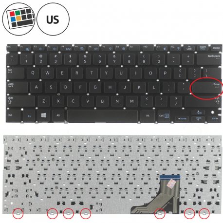 Samsung NP530U3B-A01AU Klávesnice pro notebook - americká - US + zprostředkování servisu v ČR