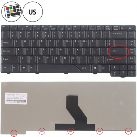 Acer Aspire 6920G Klávesnice pro notebook - americká - US + zprostředkování servisu v ČR