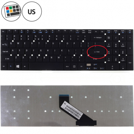Acer Aspire E5-571 Klávesnice pro notebook - americká - US + zprostředkování servisu v ČR